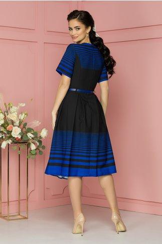 Rochie Theodora neagra cu dungi albastre