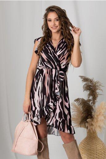 Rochie Tiara neagra cu imprimeuri roz si maneci cu volanas