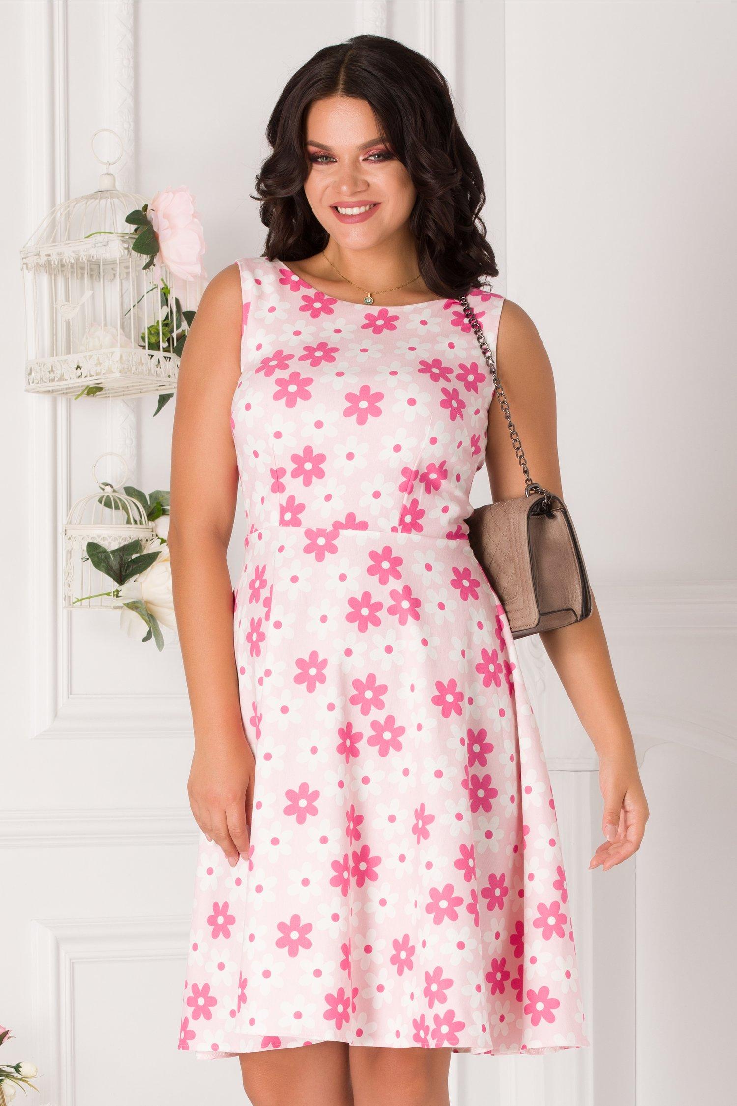 Rochie Timeea roz cu flori fucsia si albe