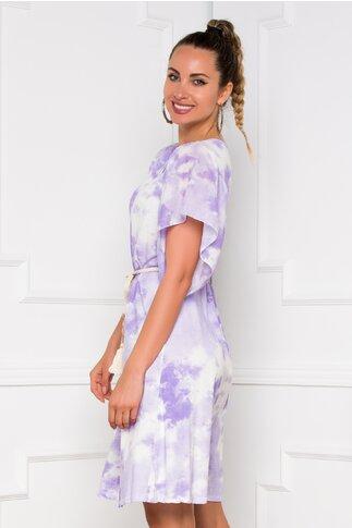 Rochie Tina cu imprimeu tie dye lila