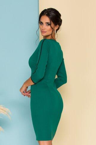 Rochie Tina verde cu fermoar pe fata