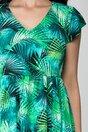 Rochie Tina verde cu imprimeuri exotice
