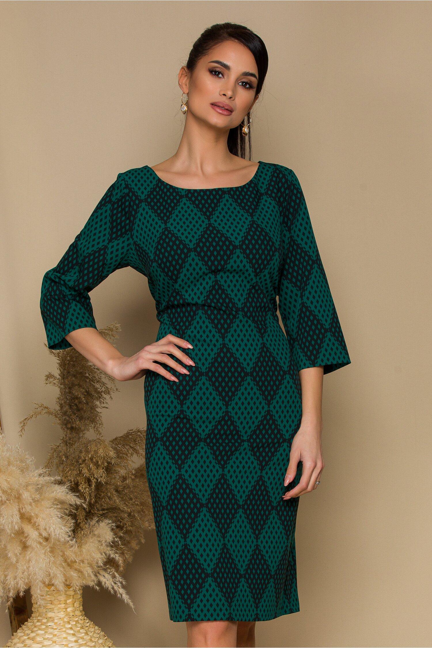 Rochie Tina verde cu negru si imprimeu in carouri