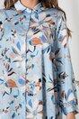 Rochie tip camasa bleu cu imprimeuri florale maro
