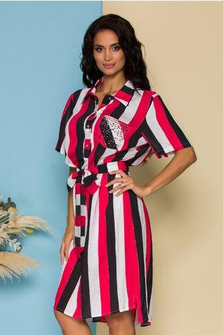 Rochie tip camasa cu dungi rosii si negre