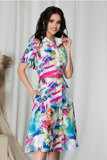 Rochie tip camasa Florina alba cu imprimeu floral
