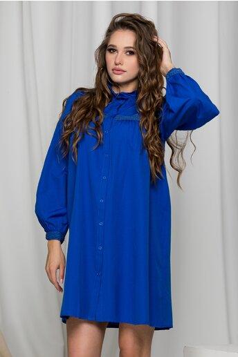 Rochie tip camasa Ilinca albastra cu broderie la bust si maneci