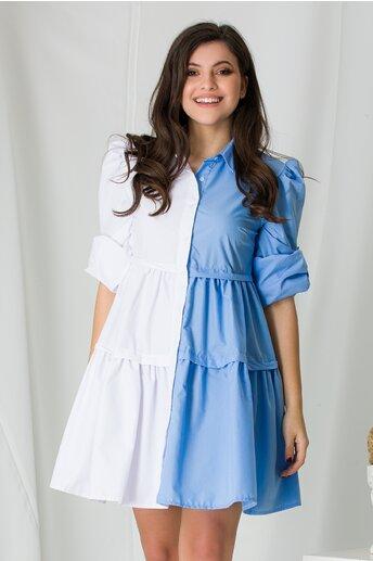 Rochie tip camasa in doua culori alb si bleu