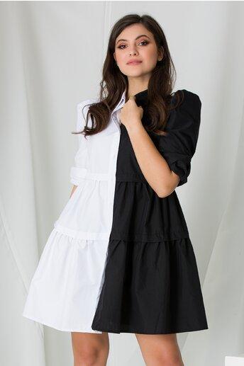 Rochie tip camasa in doua culori alb si negru