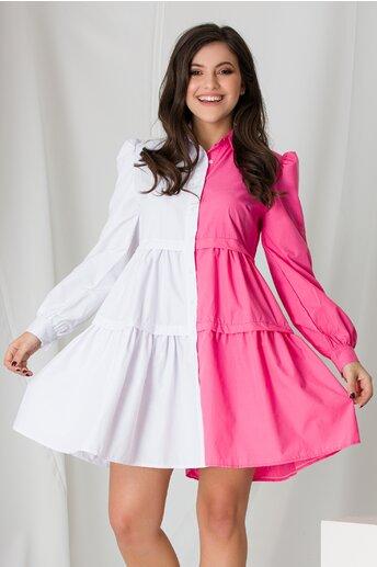 Rochie tip camasa in doua culori alb si roz