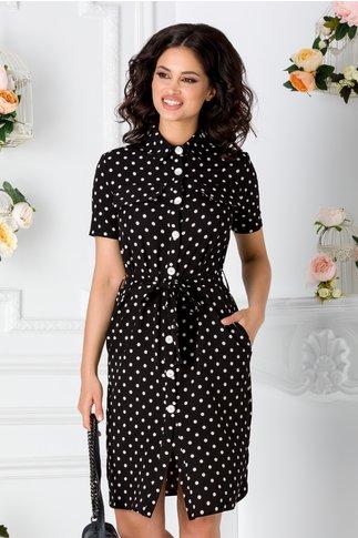 Rochie tip camasa neagra cu buline albe si buzunare false la bust
