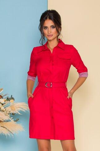 Rochie tip camasa rosie cu buzunar la bust si curea in talie
