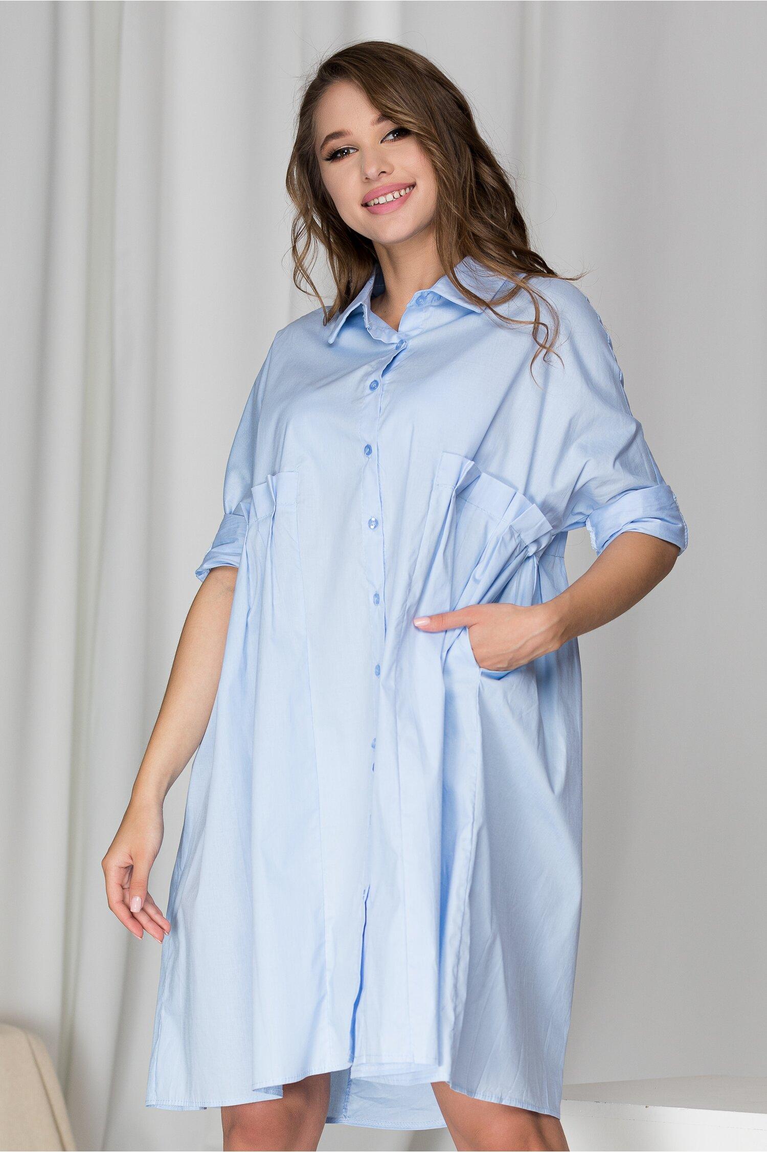 Rochie tip camasa Tania bleu cu pliuri din zona bustului
