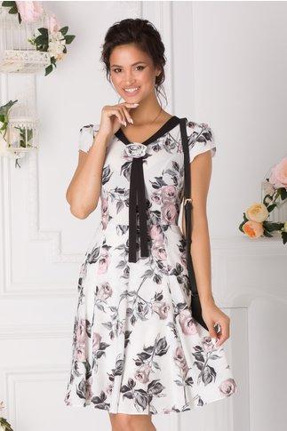 Rochie Tisha alba cu imprimeuri gri-rose si guler tip esarfa