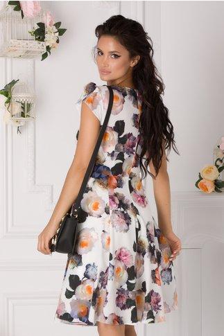 Rochie Tisha alba cu trandafiri colorati si guler tip esarfa