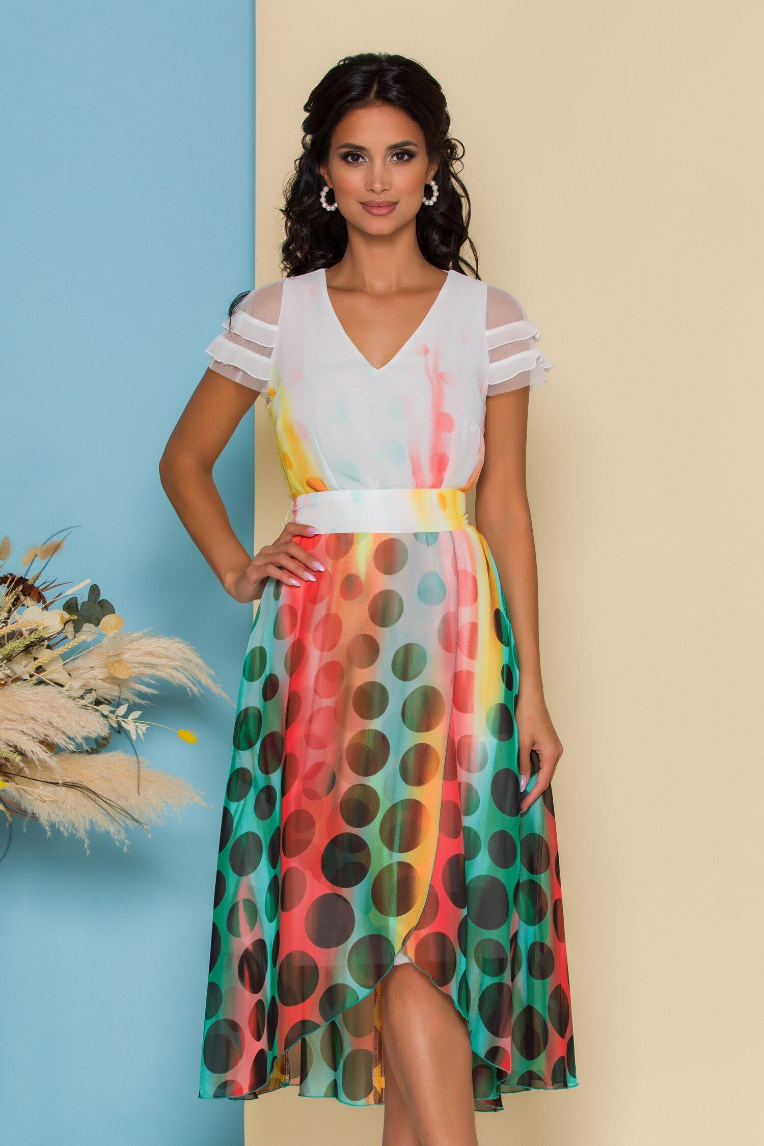 Rochie Tonia alba cu buline si imprimeuri colorate in degrade