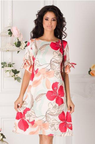 Rochie Tonia bej cu imprimeu floral corai
