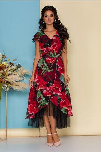Rochie Tonia cu imprimeuri florale rosii maxi