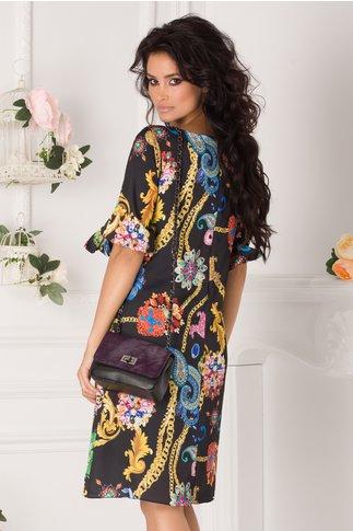 Rochie Tonia neagra cu imprimeu colorat