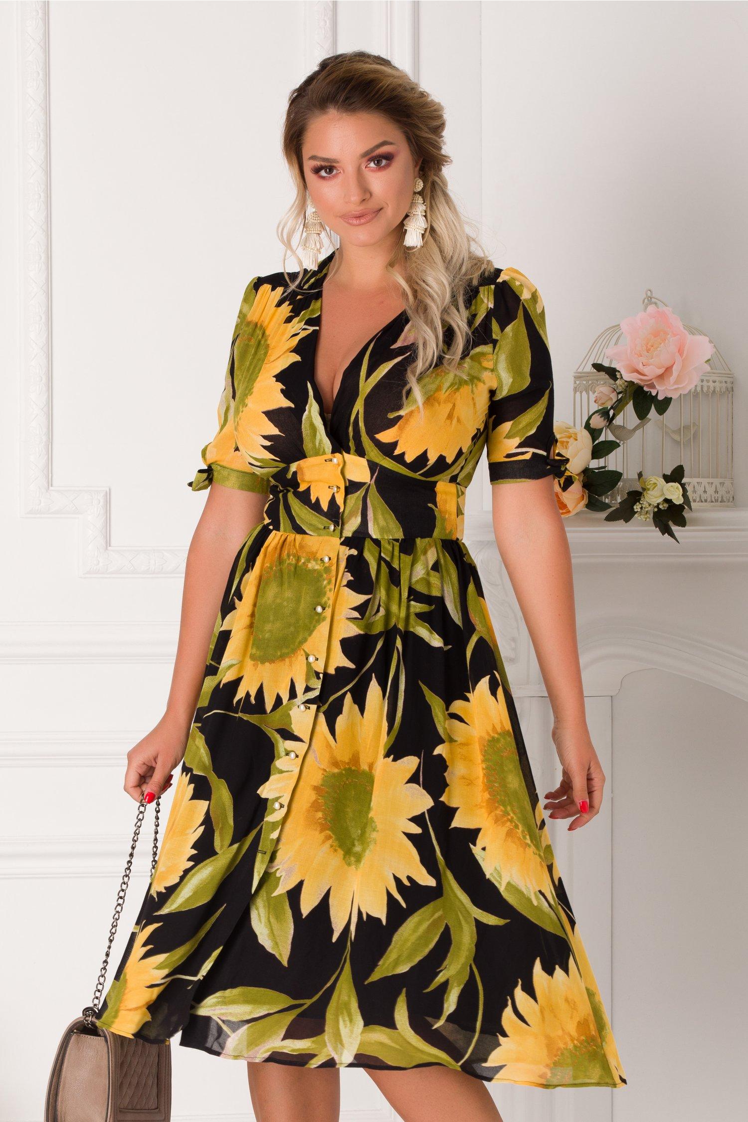 Rochie Tonia neagra cu imprimeuri florale galbene