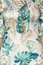 Rochie Trina bej cu imprimeu exotic si maneci trei sferturi cu fronseu