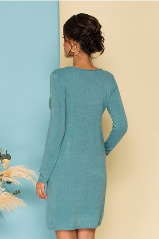 Rochie turcoaz din tricot cu buzunare functionale