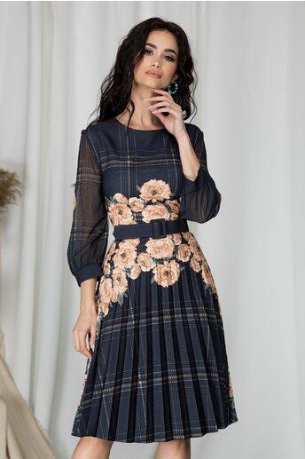 Rochie Valentina bleumarin cu flori maro si fusta plisata