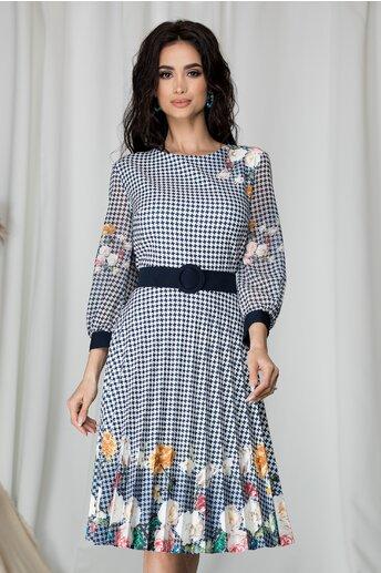 Rochie Valentina cu imprimeuri bleumarin si flori