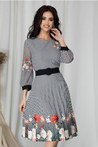 Rochie Valentina cu imprimeuri negre si flori