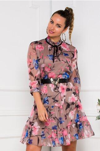 Rochie Valeria bej cu imprimeuri florale roz