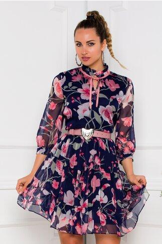 Rochie Valeria bleumarin cu imprimeuri florale roz
