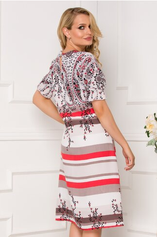 Rochie Valeria cu imprimeuri florale si dungi caramizii