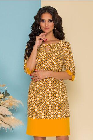 Rochie Valeria galben mustar cu imprimeuri geometrice