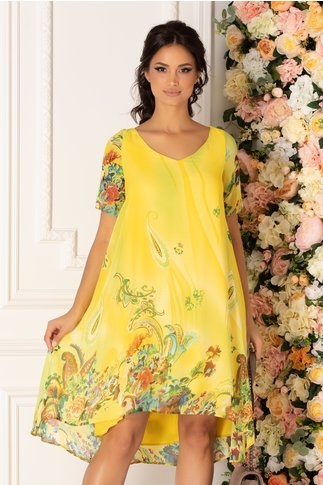 Rochie Valeria galbena vaporoasa cu imprimeu multicolor