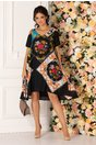 Rochie Valeria neagra vaporoasa cu imprimeu multicolor