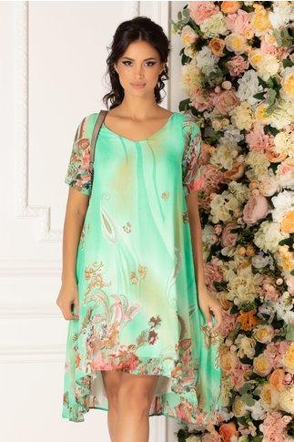 Rochie Valeria verde deschis vaporoasa cu imprimeu in nuante pastelate