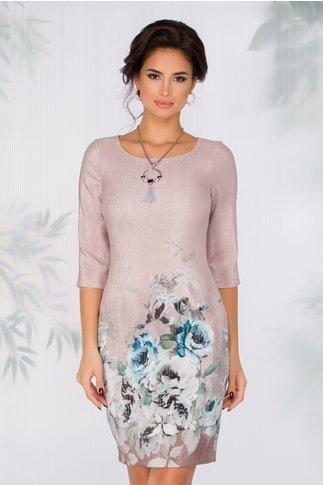 Rochie Vanesa beige rose cu fir lurex si imprimeu floral la baza