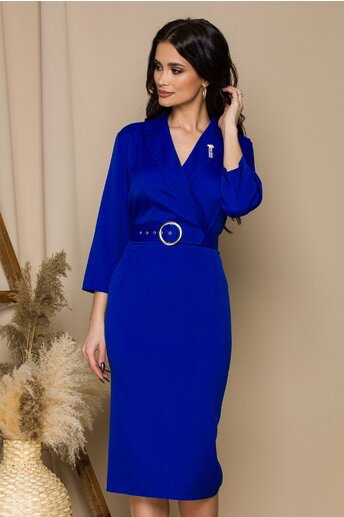 Rochie Vania albastra office cu rever si curea