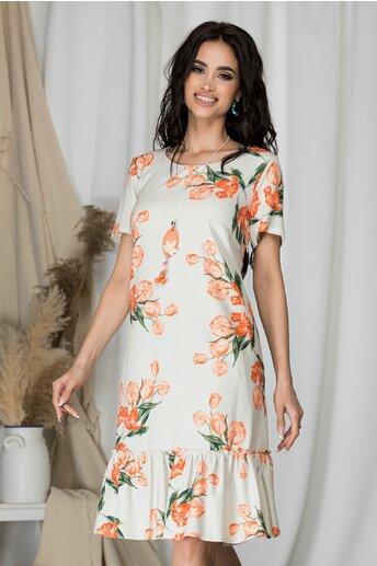 Rochie Vania bej cu imprimeu floral orange