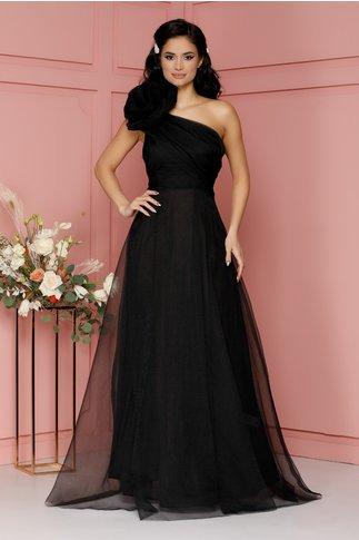 Rochie Vania lunga neagra cu floare maxi la umar