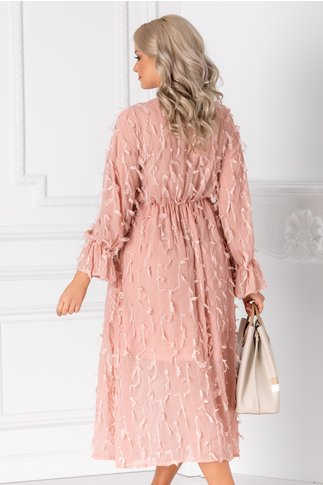 Rochie Vania roz vaporpasa cu franjuri din dantela