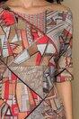 Rochie Vanya bej cu imprimeu geometrice