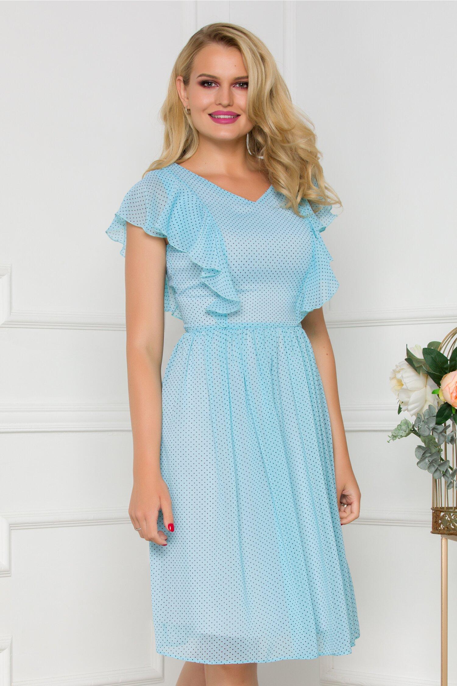 Rochie vaporoasa bleu cu volane la maneci si imprimeu cu buline