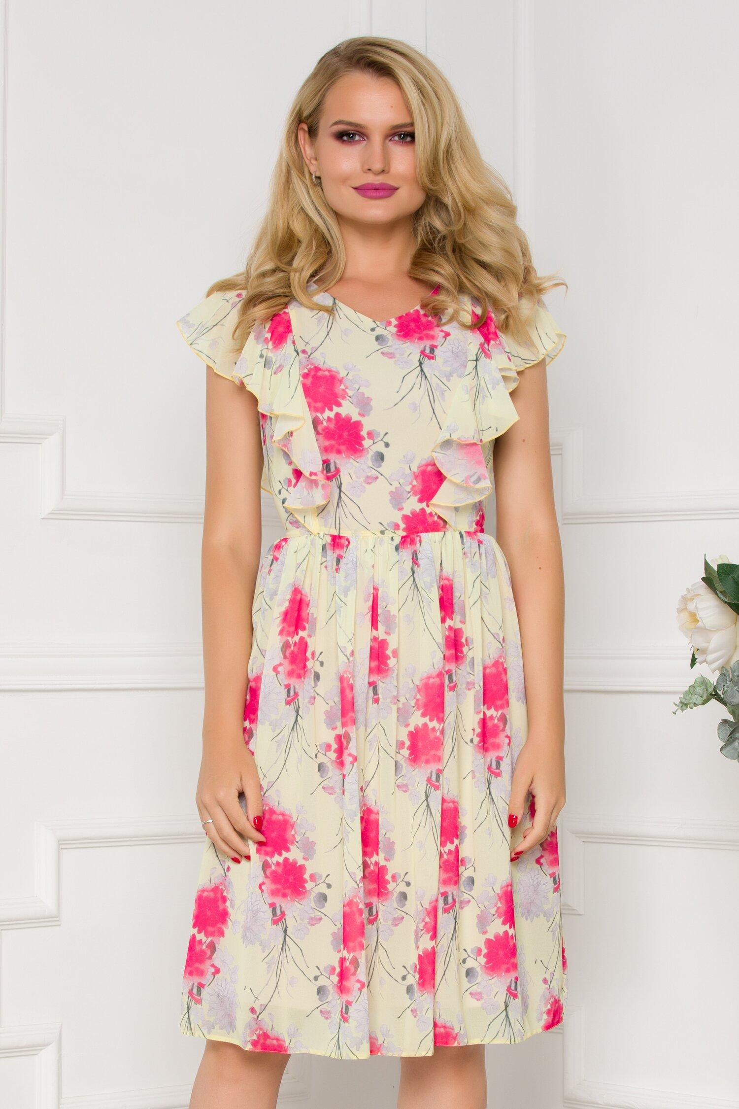 Rochie vaporoasa galbena cu volane la maneci si imprimeu floral