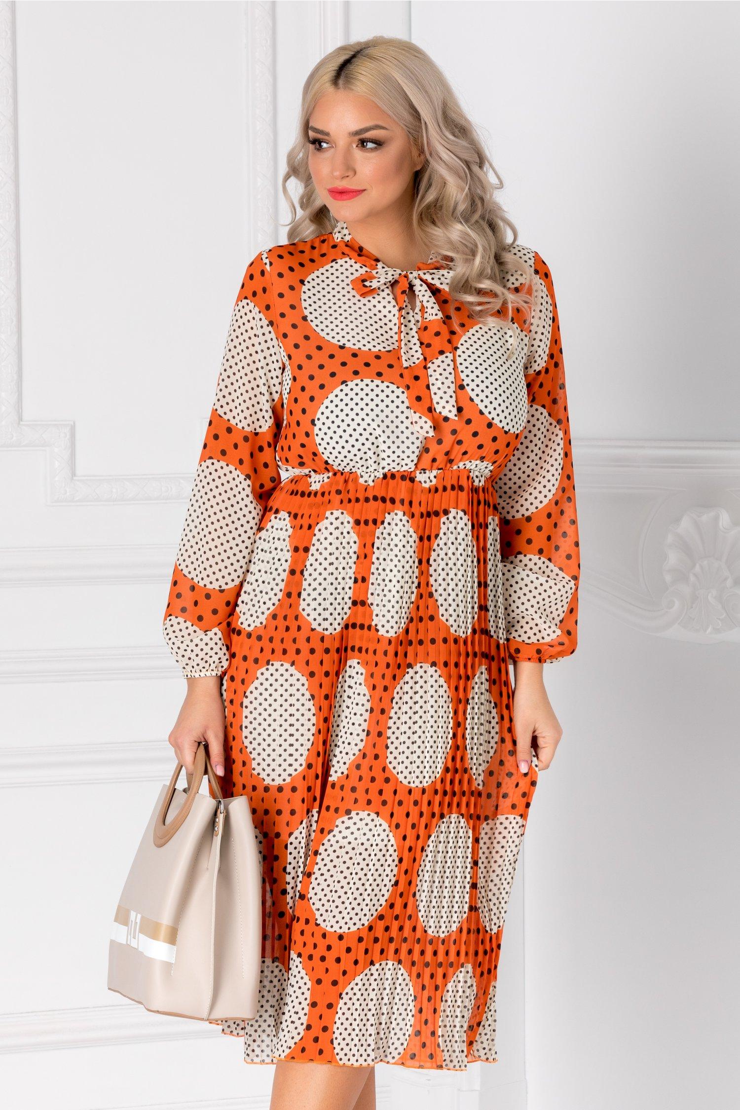 Rochie Vedda orange cu buline maxi ivoire