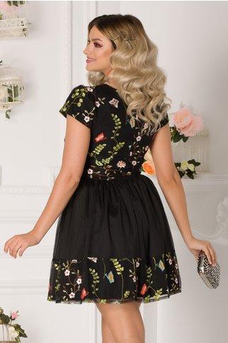Rochie Vegas neagra cu broderie florala colorata
