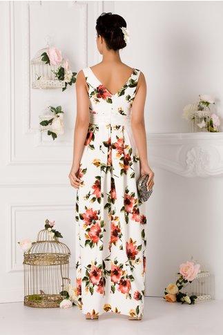 Rochie Venice alba lunga cu imprimeu floral si dantela in talie