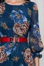 Rochie Vera bleumarin cu imprimeuri florale maro