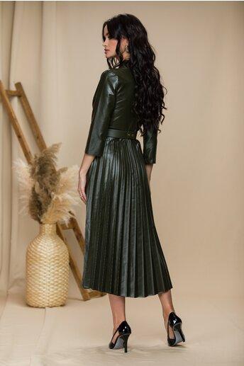Rochie Vera kaki cu decolteu petrecut si fusta plisata