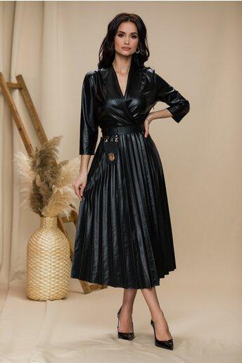 Rochie Vera neagra cu decolteu petrecut si fusta plisata